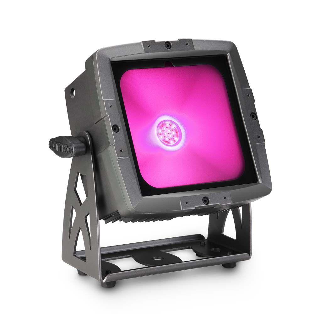 FLAT PRO FLOOD IP65 TRI - Proyector con LED COB tricolor de 60 W para uso en exteriores con carcasa negra