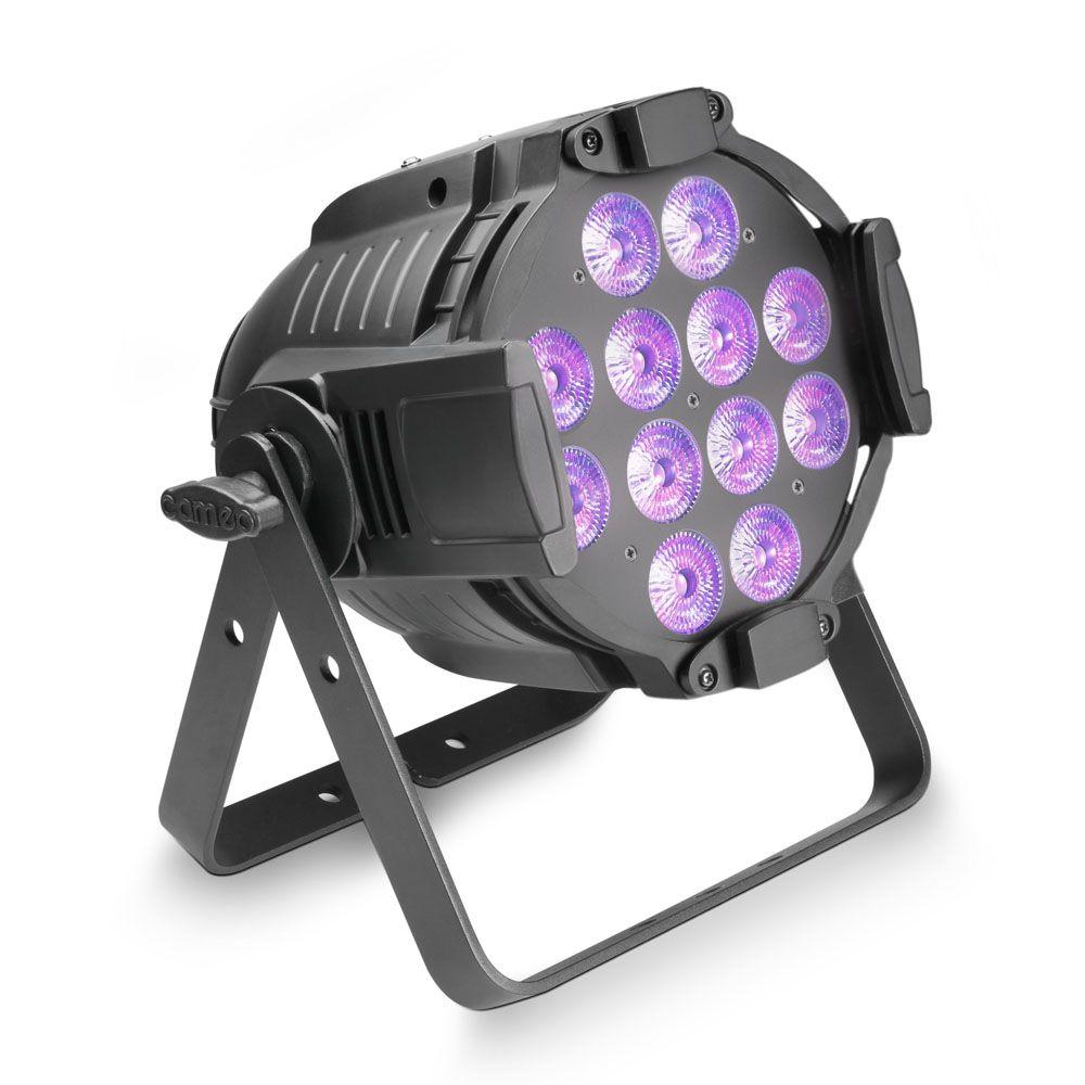Studio PAR 64 CAN RGBWA+UV 12 W - Foco PAR LED de cuatro colores RGBWA+UV 12 x 12 W con Carcasa negra