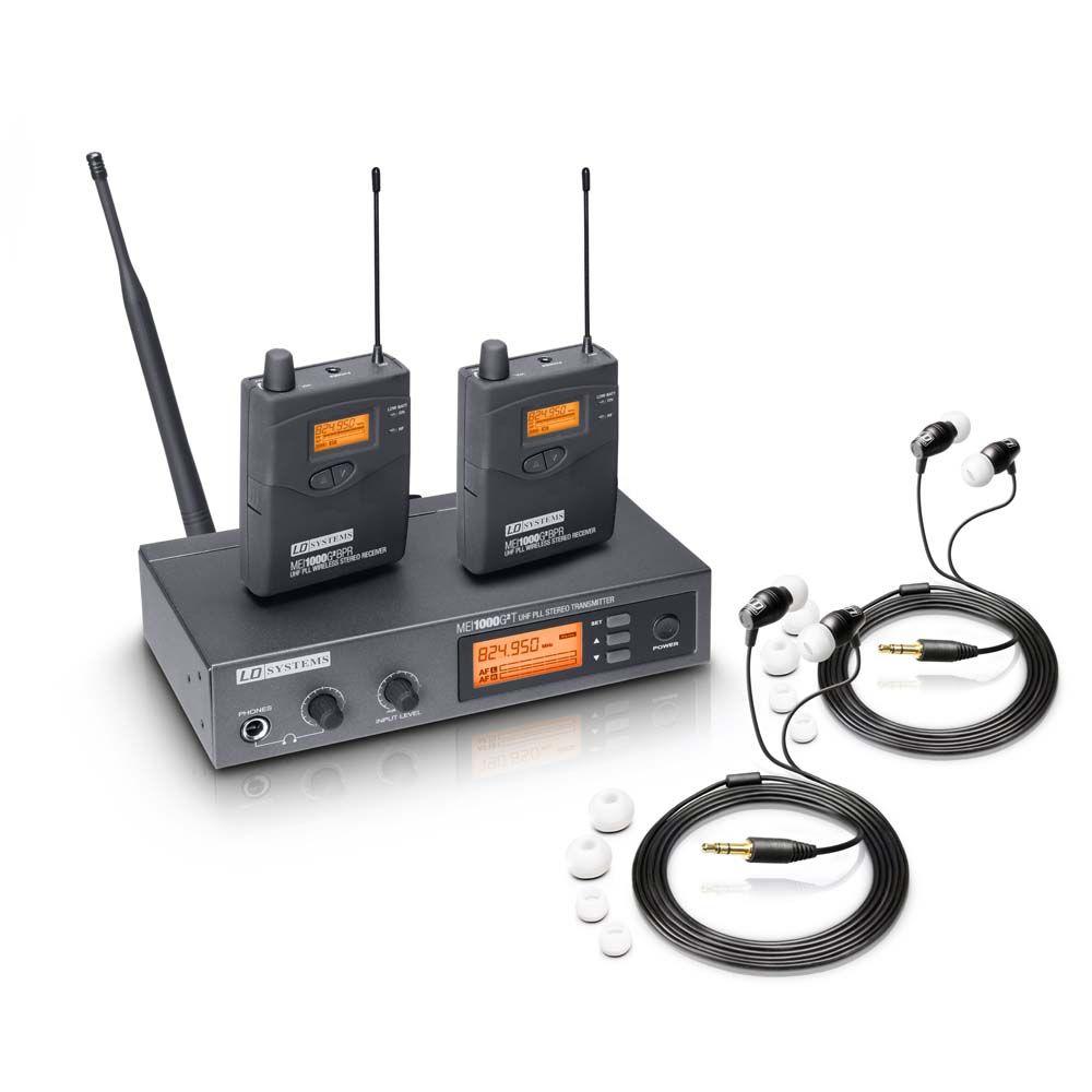 MEI 1000 G2 BUNDLE - Sistema de monitoraje intraauditivo inalámbrico con 2 petacas y 2 auriculares intraauditivos