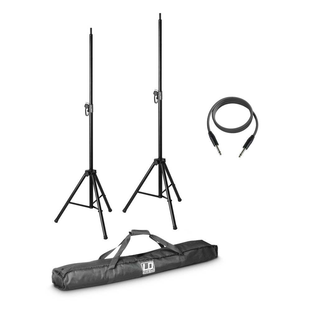 STINGER MIX 6 G2 SET 2 - 2 x soporte altavoz con funda de transporte e cable para altavoces 10 m para STINGER MIX 6 (A) G2