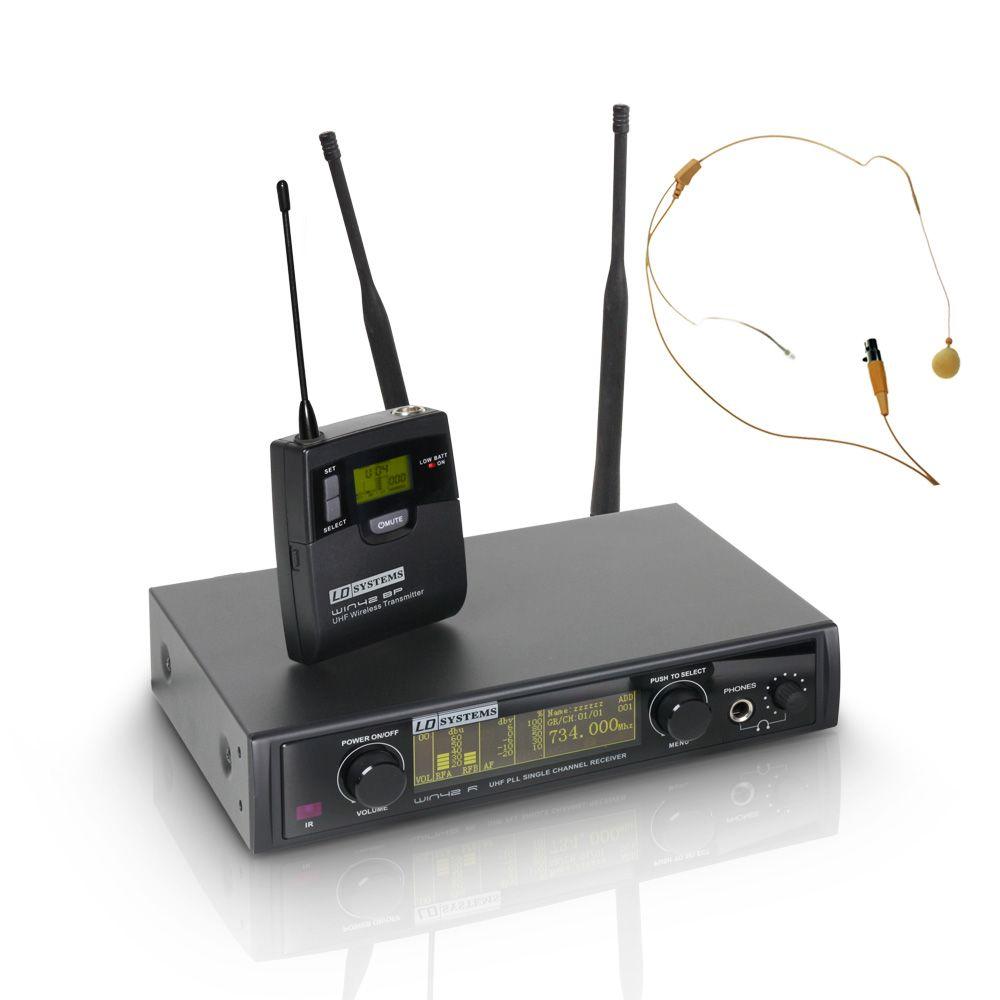 WIN 42 BPHH - Sistema inalámbrico con petaca y micrófono de diadema color carne
