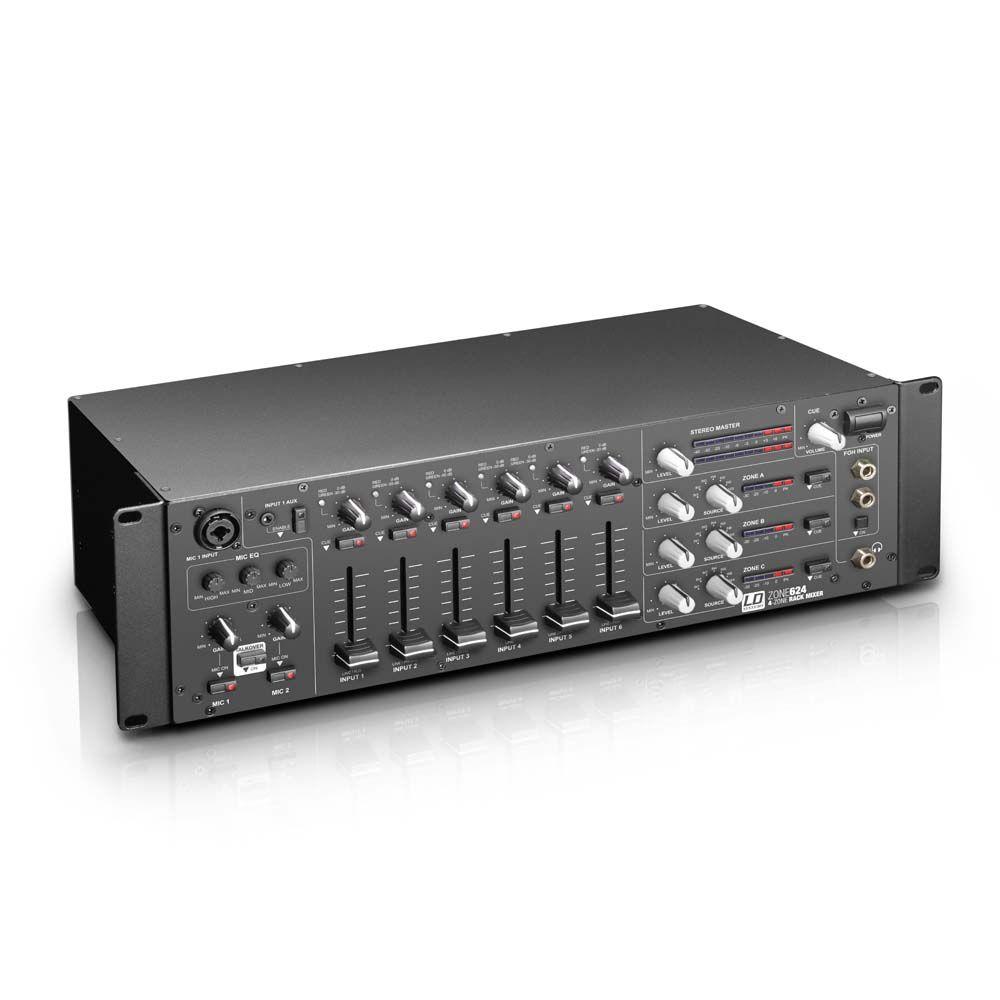 """LD Systems - Mesas de mezcla > Mezclador de instalación > ZONE 624 - Mezclador de 4 zonas, formato 19"""" 3 U"""