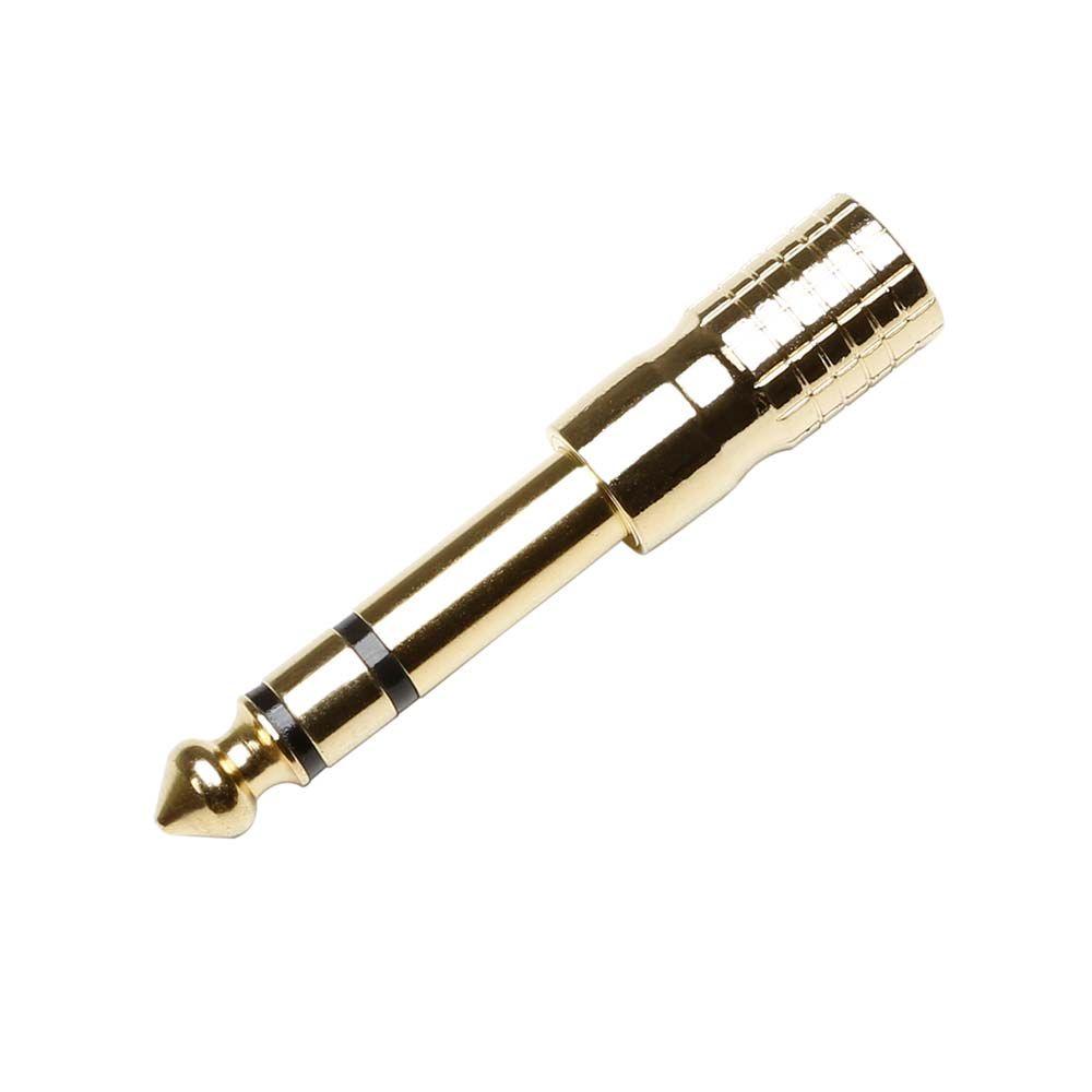 7543 G - Adaptador de Minijack 3,5 mm hembra estéreo a Jack 6,3 mm estéreo macho, dorado
