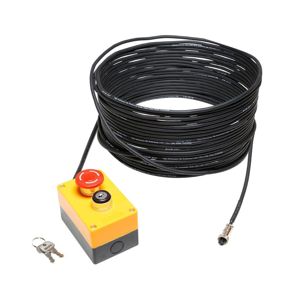 NEW EKS 20 M - Pulsador de parada de emergencia con cerradura y 20 m de cable