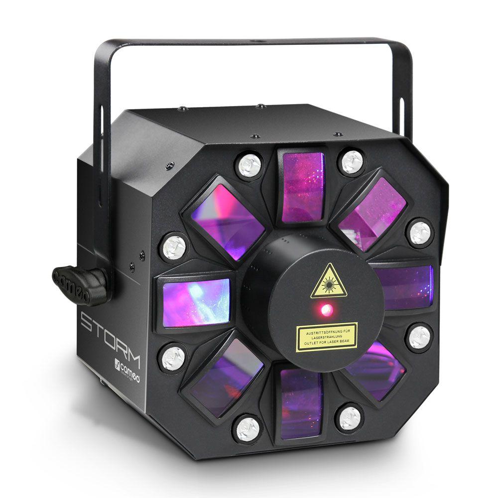 STORM - Efecto de luces 3 en 1, 5 x 3 W RGBAW derby, estrobo y láser grating