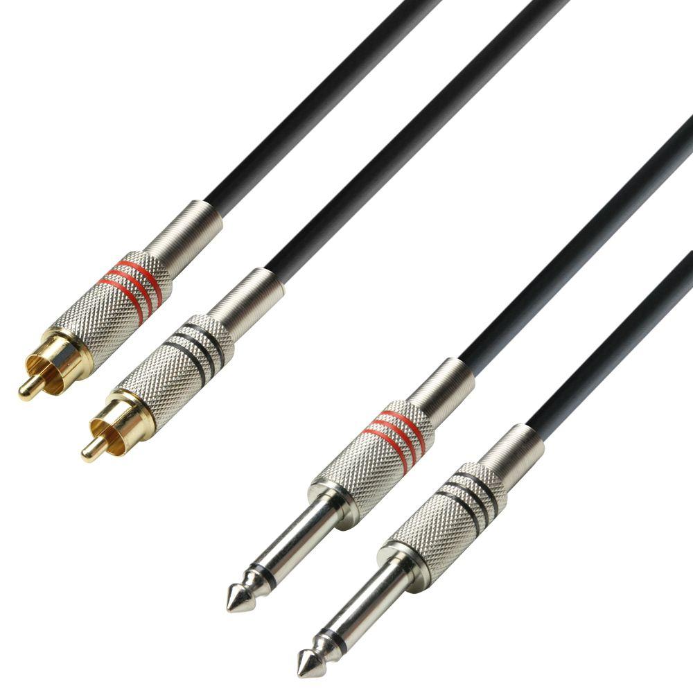 K3 TPC 0300 - Cable de Audio de 2 RCA macho a 2 Jacks 6,3 mm mono 3 m