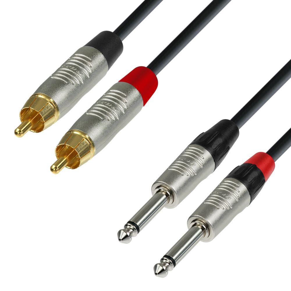 K4 TPC 0300 - Cable de Audio REAN de 2 RCA macho a 2 Jacks 6,3 mm mono 3 m