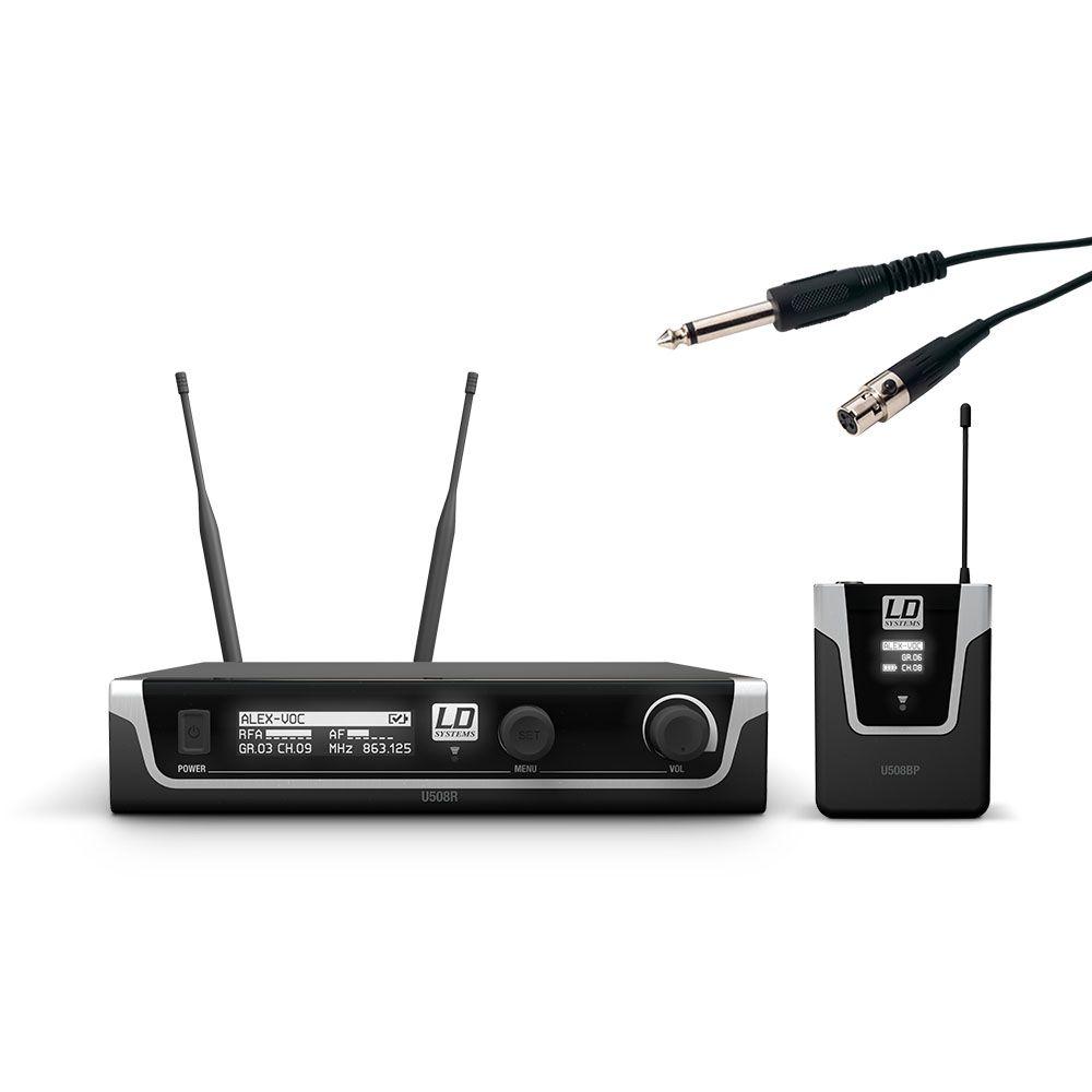 LD Systems U508 BPG - Sistema de micrófono inalámbrico con petaca y cable de la guitarra