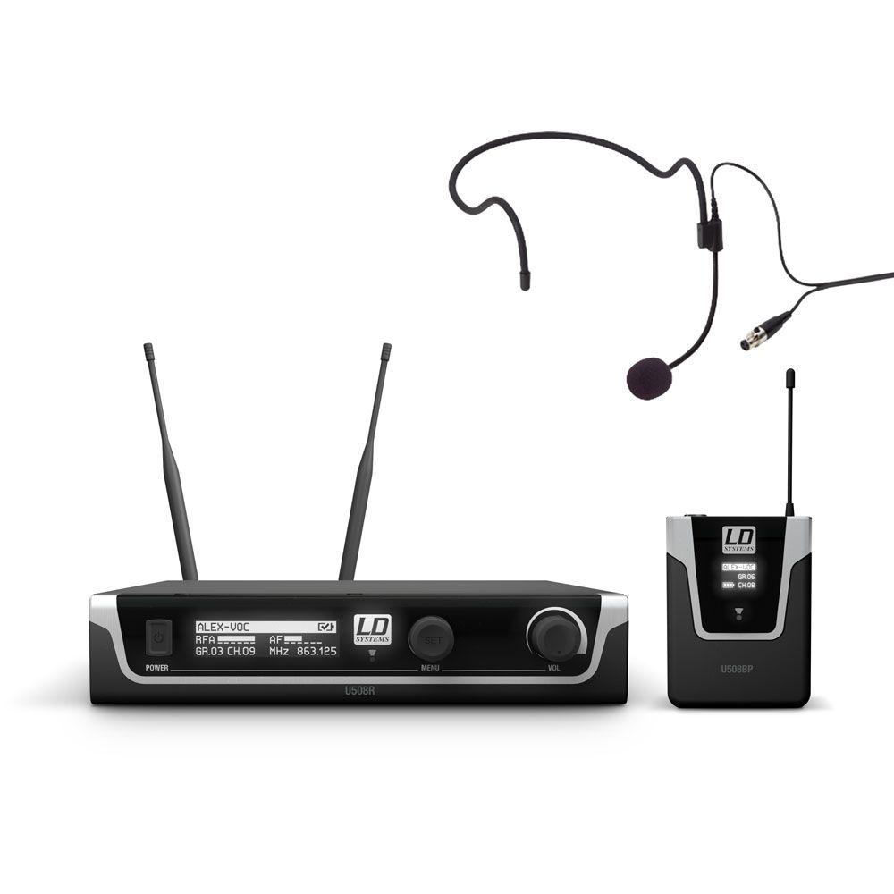 LD Systems U508 HPB - Sistema de micrófono inalámbrico con petaca y Auriculares