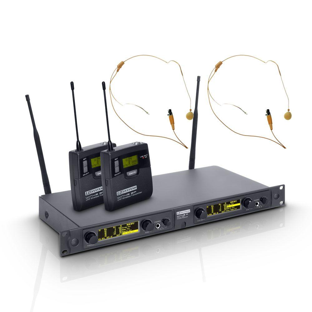 WIN 42 BPHH 2 B 5 LD Systems - Sistema de micrófono inalámbrico con 2 x petaca y de color de piel de 2 x Auriculares