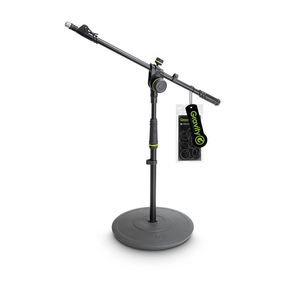 El Gravity MS 2222 B - Soporte corto para Micrófono con base redonda y 2-Punto de Ajuste telescópico Boom.