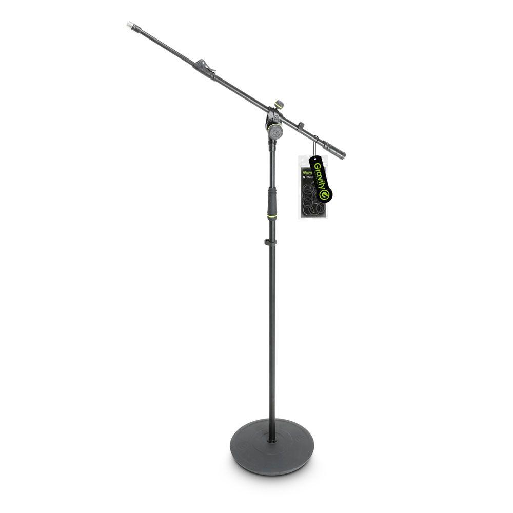 El Gravity MS 2322 B - Soporte de Micrófono con base redonda y 2-Punto de Ajuste telescópico Boom larga
