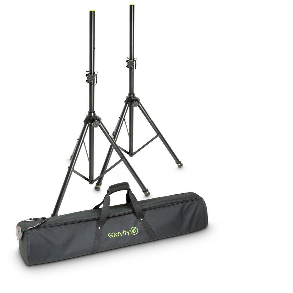 Gravity SS 5212 B SET 1 - Speaker Stand Set 2 Soportes de altavoces de acero con bolsa de transporte.