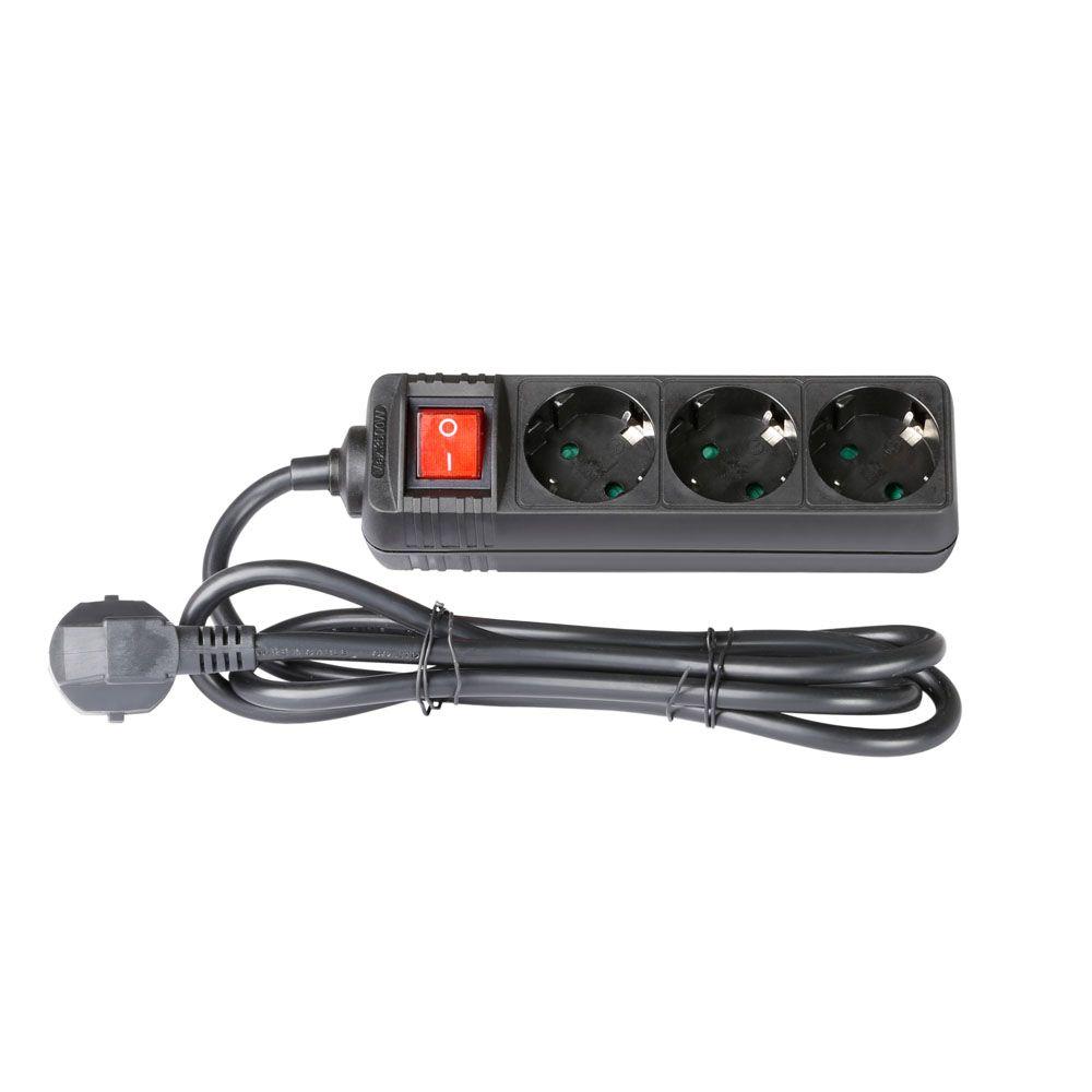 Adam Hall Accesorios 8747 S 3 - 3-Outlet Power Strip Con encendido / apagado