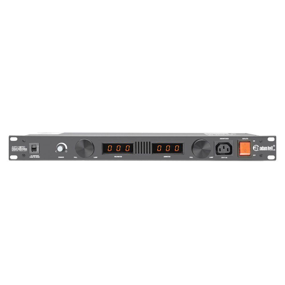 """Adam Hall 19 """"Parts PCL 10 PRO - Acondicionador de Energía con voltímetro y amperímetro y la iluminación de rack"""