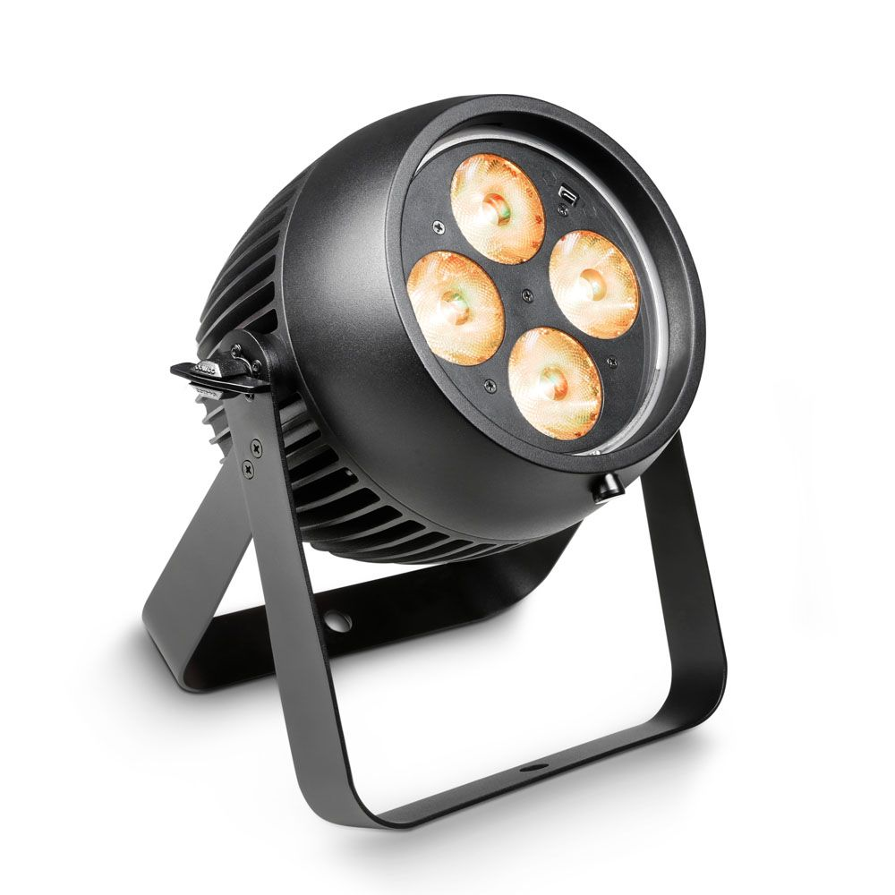 Professional Outdoor PAR Can IP65 The Cameo Zenit® P130 is an IP65 rated outdoor PAR can with a sharp, tightly focussed beam angle of 8°. For an additional choice of 25° or 45° angles, it comes with two ultra-efficient light shaping diffusers which are specially designed to maintain the fixture's powerful illuminance. The Zenit® P130 is equipped with four 32W RGBW Osram OSTAR LEDs for brilliant, uniform Colours while 16-bit technology enables high-resolution Colour mixing and dimming. With a 3,600 Hz refresh rate and flicker-free operation the advanced Zenit® P130 is the perfect choice for motion picture and TV applications. Highly effective convection cooling ensures totally noise-free operation. Truly professional, the Zenit® P130 is RDM-compatible and includes 7 modes of DMX control, exciting automated programs as well as master, slave and standalone capability. It features Colour temperature and individual LED Colour correction, a high-speed strobe, 4 selectable dimming curves and adjustable halogen lamp-like dimming response. A security lock prevents unauthorized menu access. To enable easy daisy-chaining, the heavy-duty die-cast aluminium housing provides innovative locking 5-pin DMX and AC power inputs and outputs. A modern OLED display with 4 touch buttons allows easy, intuitive configuration.
