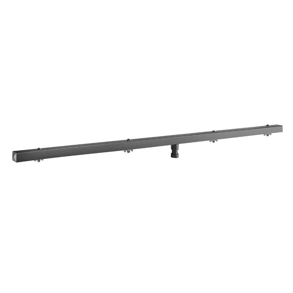 Bases de iluminación T-Bar con 28 mm Espiga de TV Esta plaza barra en T encaja en toda la iluminación se encuentra con zócalos de 28 mm y es un reemplazo directo para nuestra AH-Stand SLTS017. Cuenta con 4 puntos de montaje del accesorio y puede contener hasta 45 kg uniformemente distribuidos. El 123 cm de barra en T viene con un conjunto de M8 x enmarañado pernos de 45 mm y tuercas de mariposa. 123 cm T-bar con 28 mm de espiga TV 45 kg de capacidad de carga 4 puntos de montaje del accesorio Pernos y tuercas de mariposa incluidos Producto: T-bar con 28 mm de espiga TV Material: Acero Acabado: recubrimiento en polvo De color negro Longitud: 1.230 mm Max. Carga: 45 kg