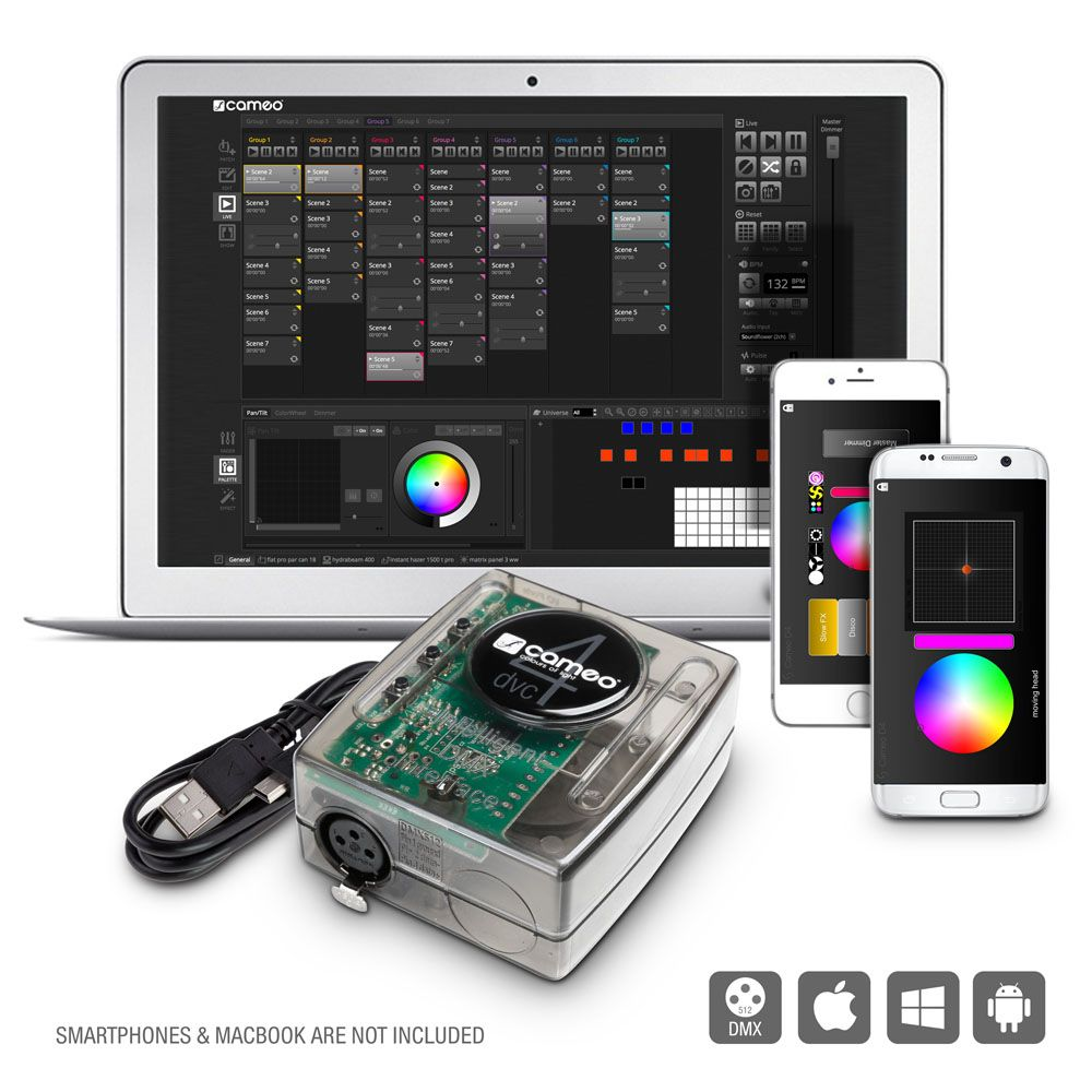 Interfaz DMX 512 canales y Control Software Package - Cameo DVC 4